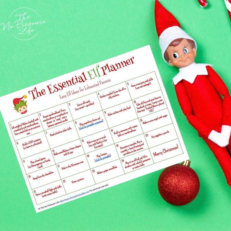 Free elf on the shelf planning calendar
