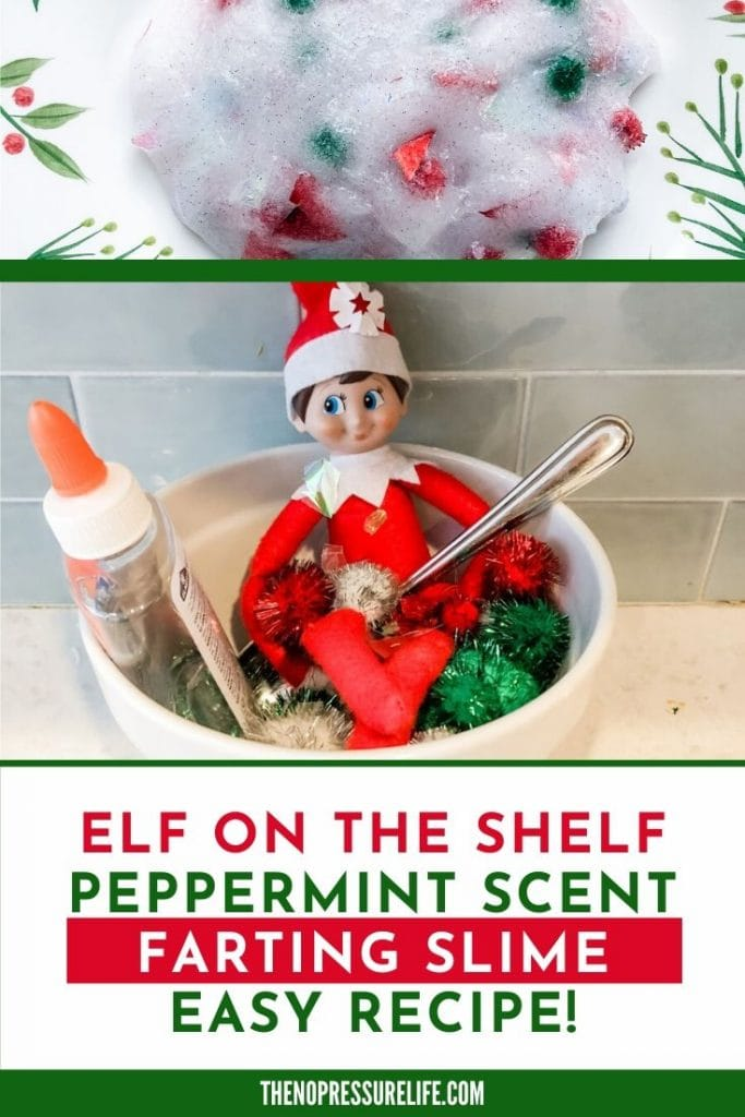Elf on the Shelf in bowl of pompoms and peppermint Christmas slime