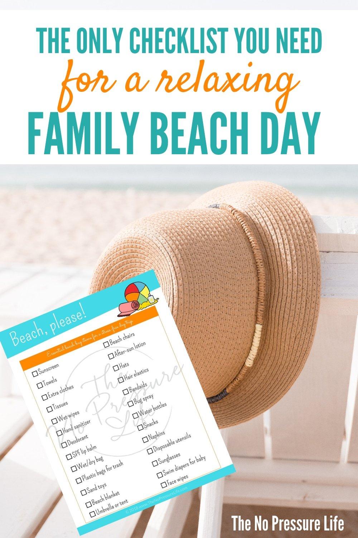 beach bag packing list free printable