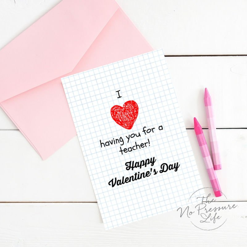 Free Printable Valentines Day Card for Teachers From Kids