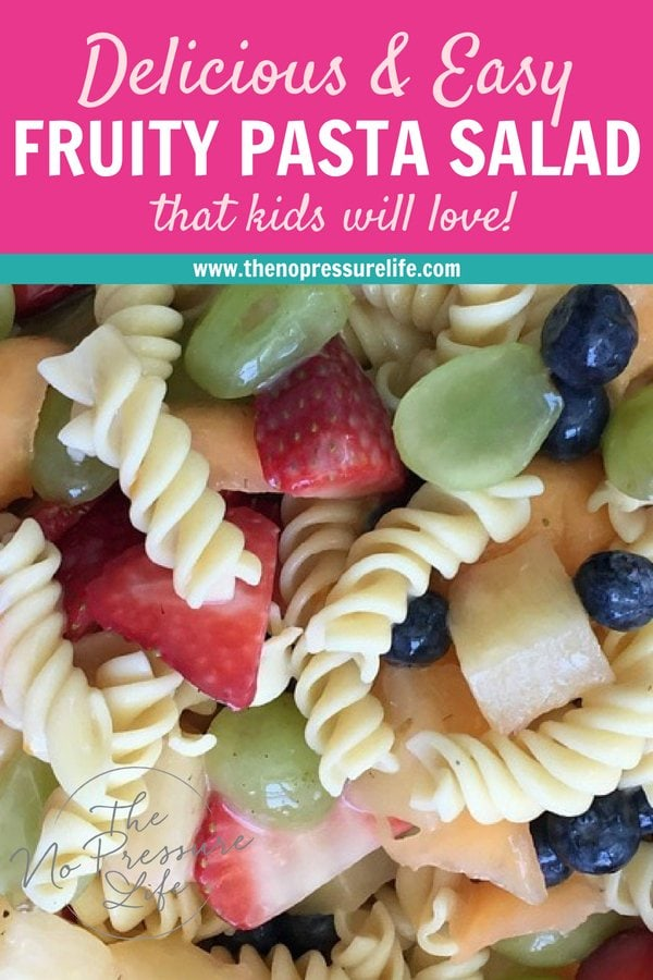 Fruity pasta salad with yogurt and rotini - easy summer recipe