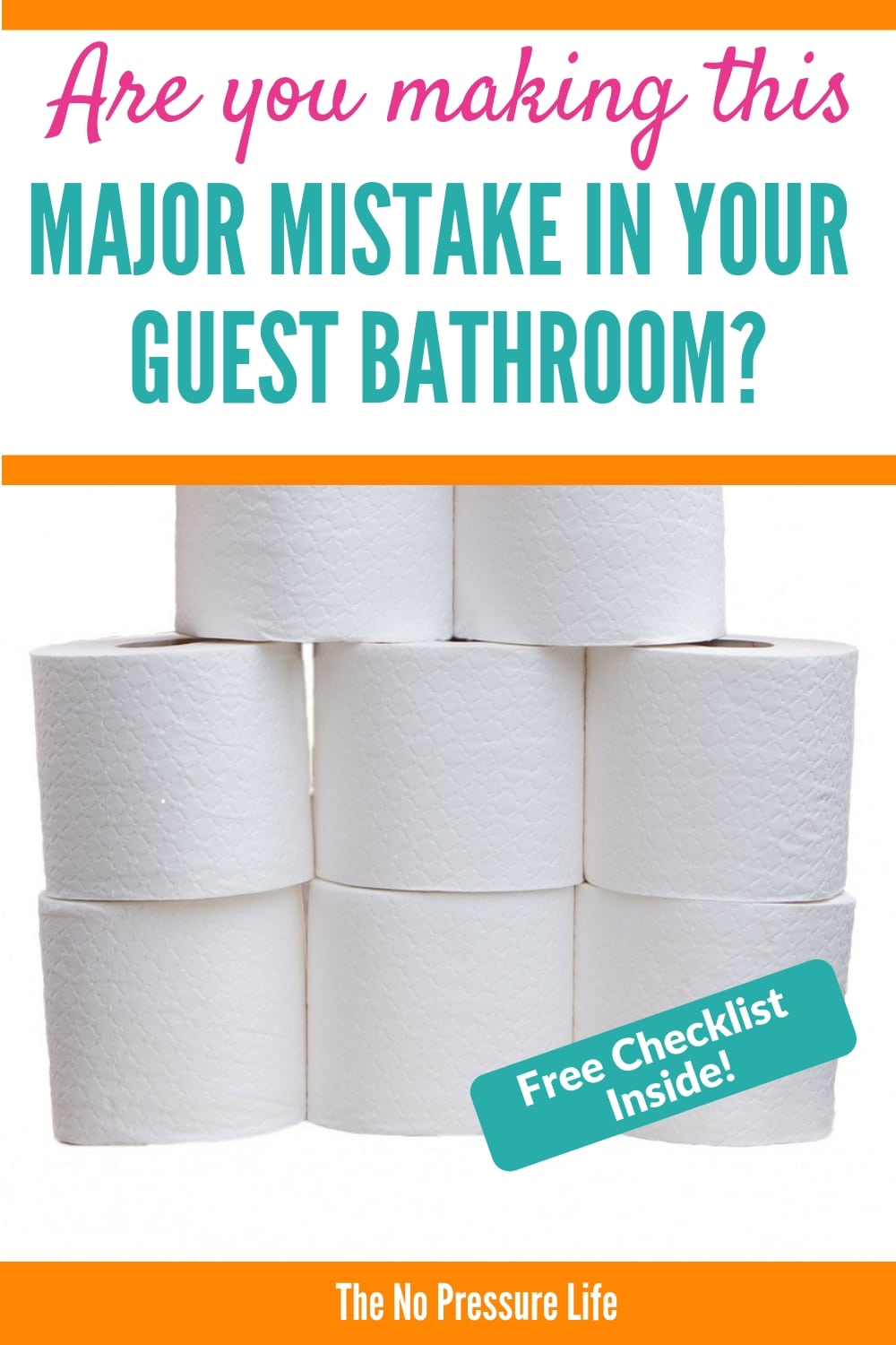 Stack of toilet paper with text: are you making this major mistake in your guest bathroom?