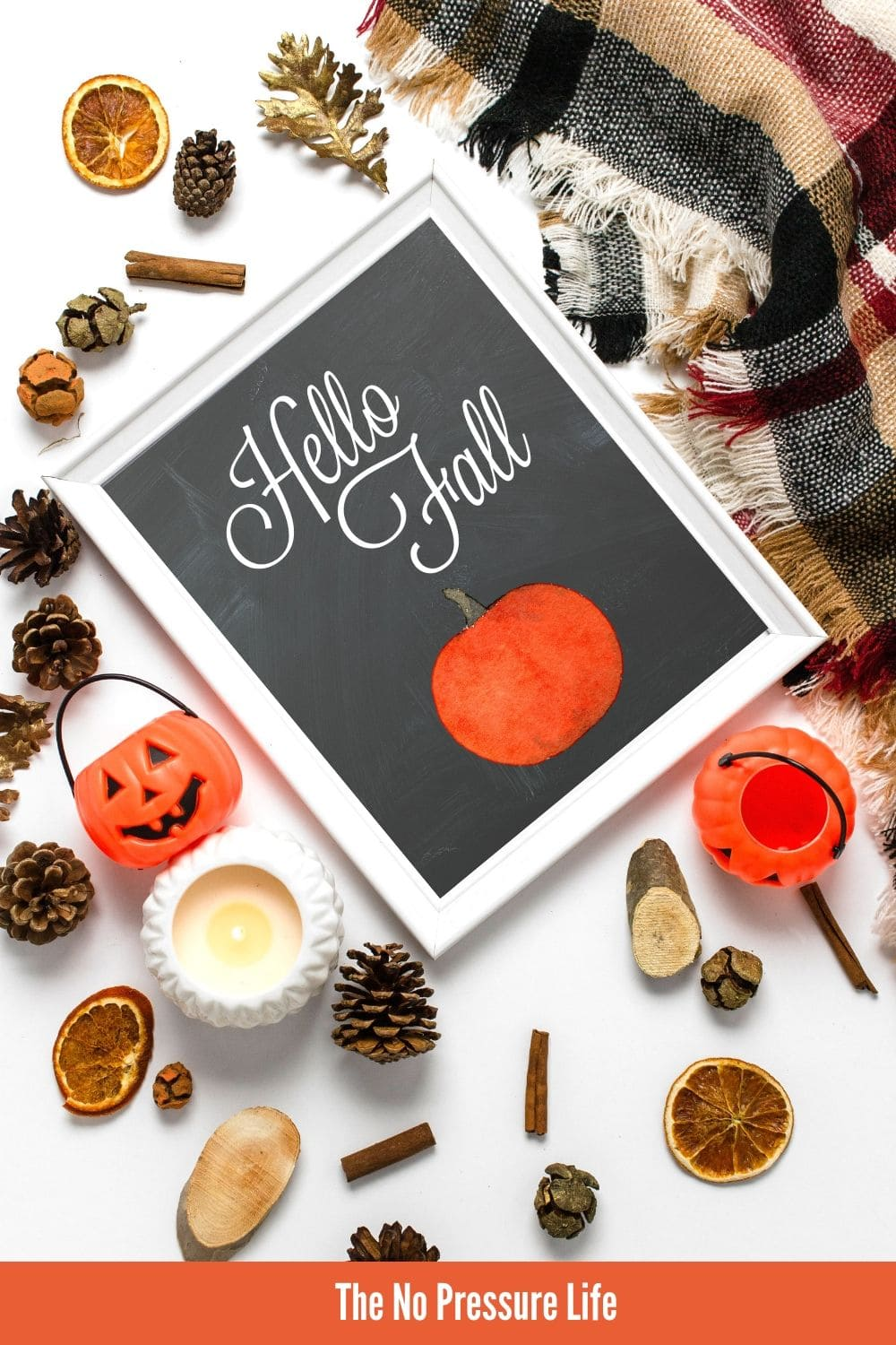 Hello Fall printable art in a white frame