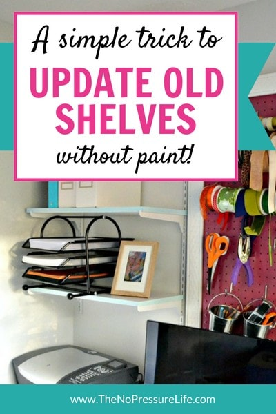 How to update shelves without paint - works great on laminate and is so easy.