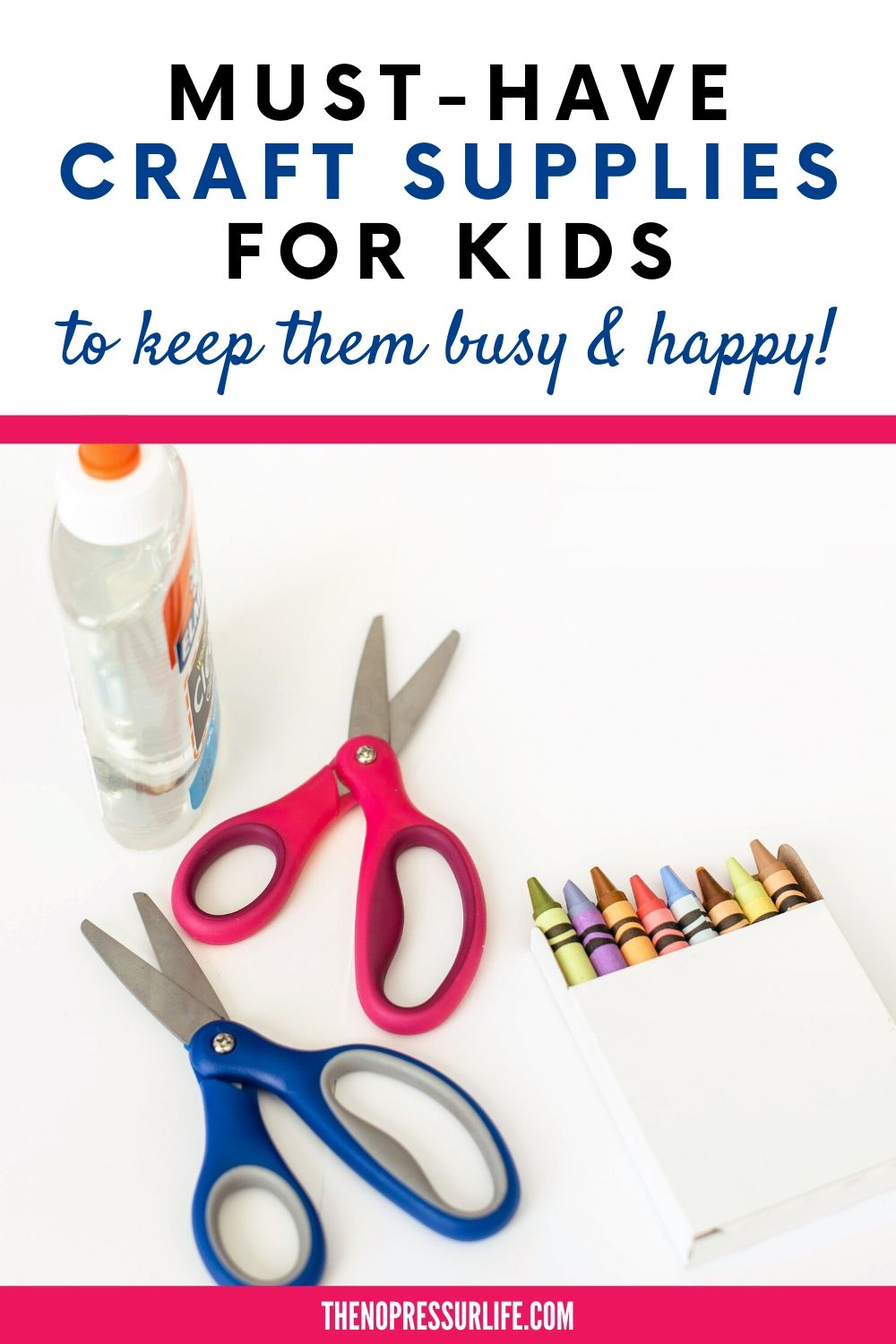 scissors and glue on white background with text: Must-Have Craft Supplies for Kids