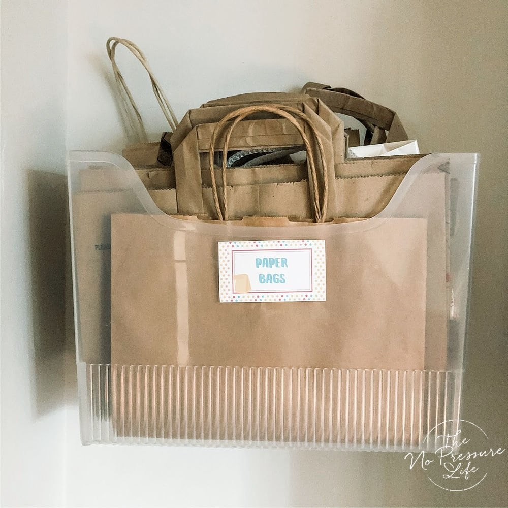 Wall storage for paper bags