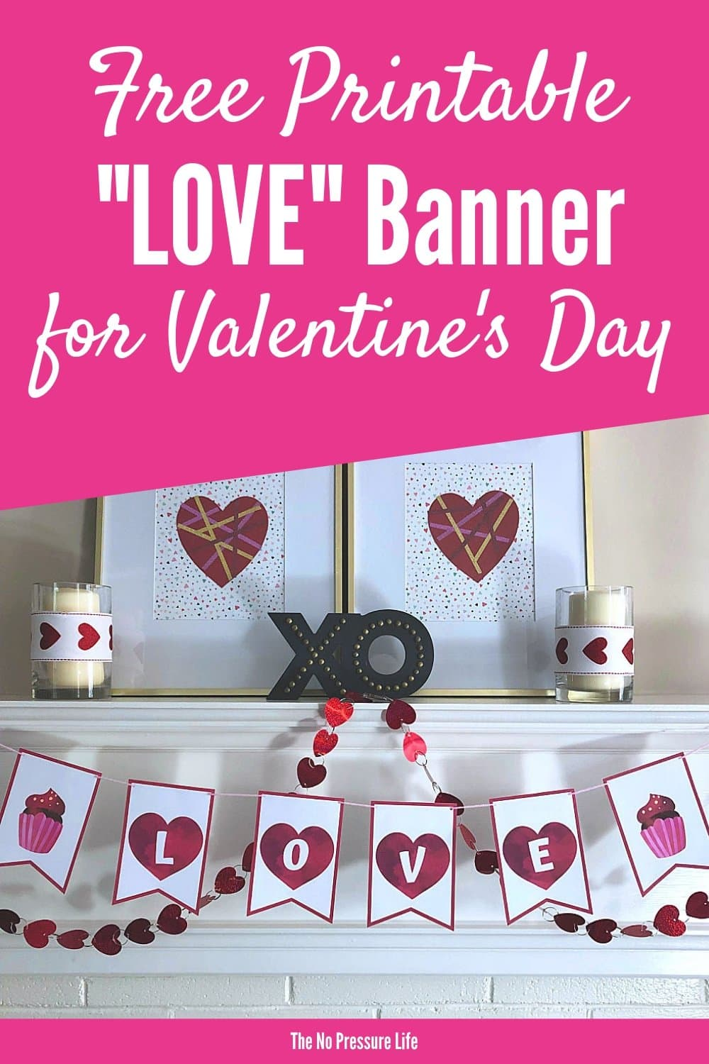 image about Valentine Banner Printable named Totally free Printable Get pleasure from Banner Thats Best for Valentines Working day