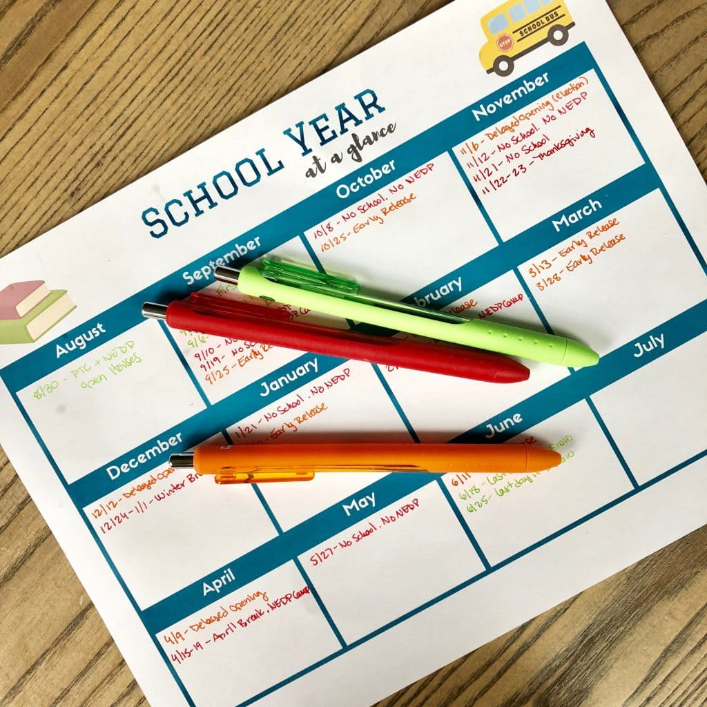 printable school year at a glance calendar