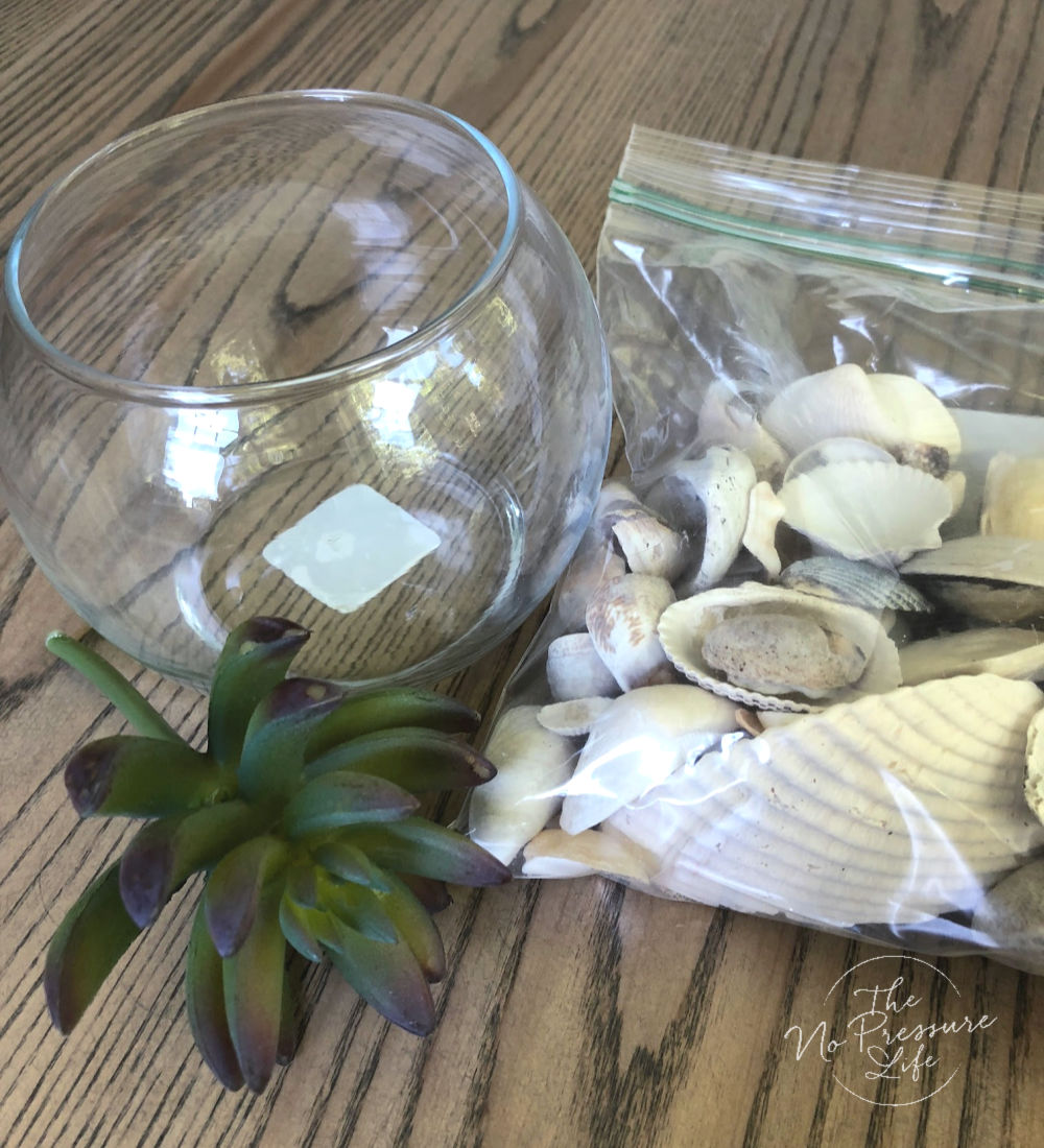 Supplies to make a terrarium with seashells and faux succulents
