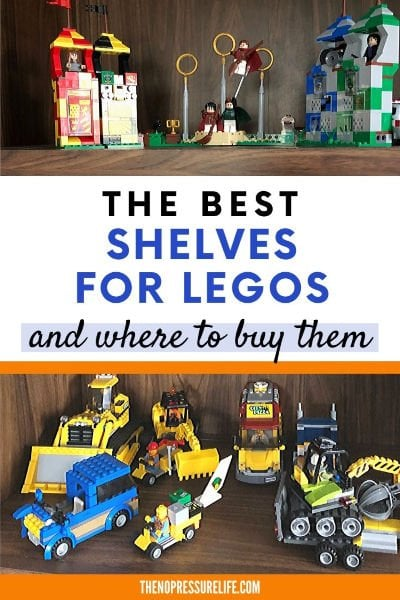 LEGO sets and minifigures on a brown bookshelf
