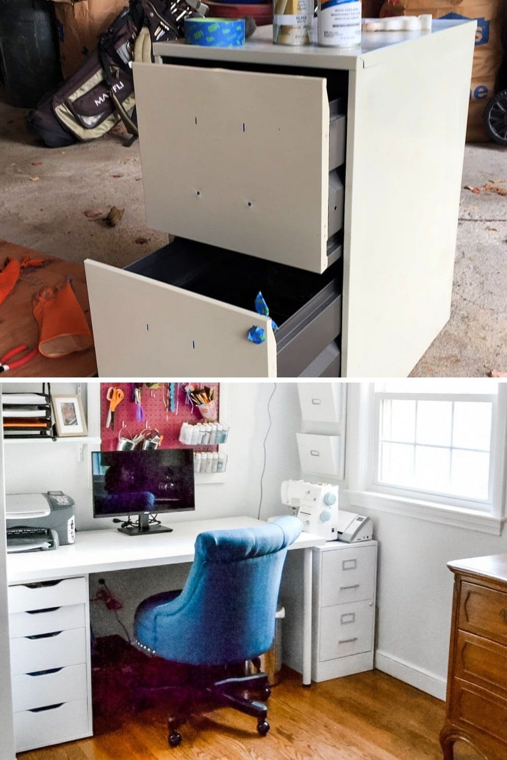 Easy DIY spray paint ideas - spray painting metal file cabinet