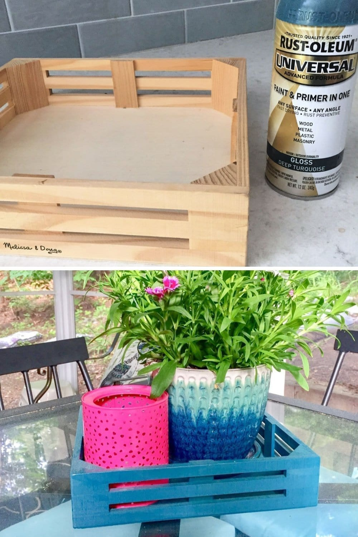 Easy DIY spray paint ideas - spray painting a wood tray