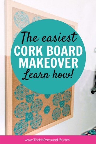 DIY stenciled cork board makeover tutorial