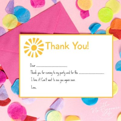 sunshine party thank you note printable