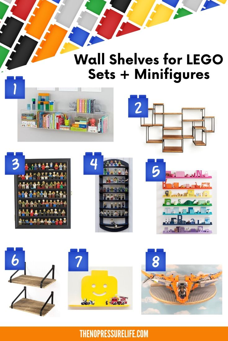 Wall shelves for LEGOs and minifigures