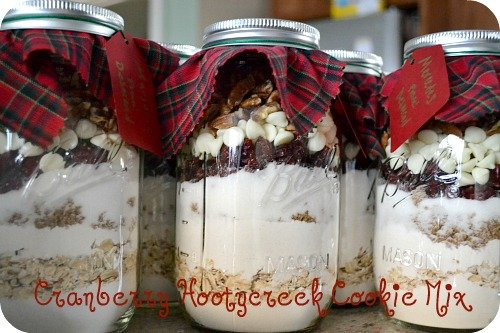 Cranberry Hootycreek cookies in a jar - mason jar cookie mix gift
